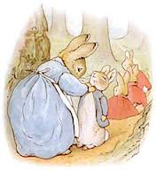 The Virgin Bunny dresses Peter in a coat of one color - blue.