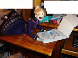 "Elsa quite enjoyed coloring and writing letters to ""Dear Abby""."