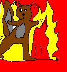 No burning bunnies, but here is a burning squirrel.  Best I can do.
