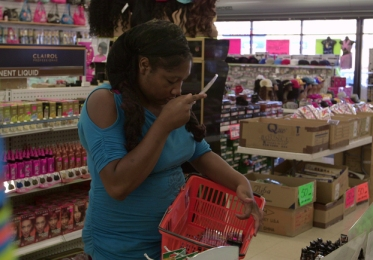 Uh, there's a lady on aisle four licking the eye shadow . . .