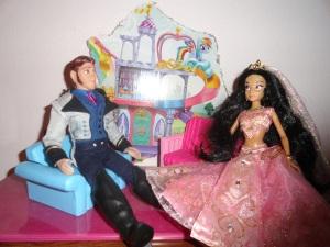 Hans: Princess Jasmine, what a nice dress . . . wait, is that a wedding veil? Jasmine: Yes I was planning a beautiful wedding. Hans: Oh give me a break, someone already tried the wedding idea. Jasmine: Darn that Ariel.  She's such a little brat!