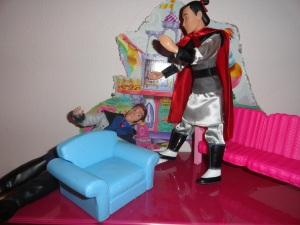 Li Shang: I happen to like Mulan in her fighting gear!  We practice hitting each other all the time.  Shall I practice on you? Hans: Save if for the games . . . please.