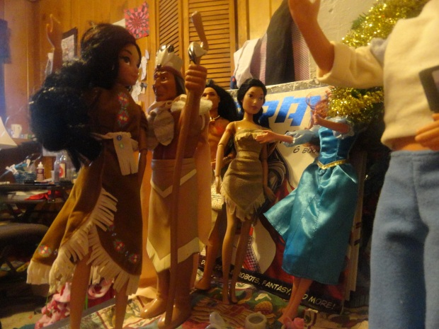 Indians Chief Powhatan, Jasmine Flower, Koko Puffs, and Pokey all love their gifts.