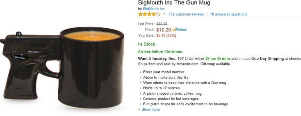 Look I just want some calming cocoa in my gun mug!