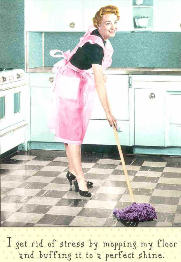 Just think - Grandma had to use a regular mop - in high heels!
