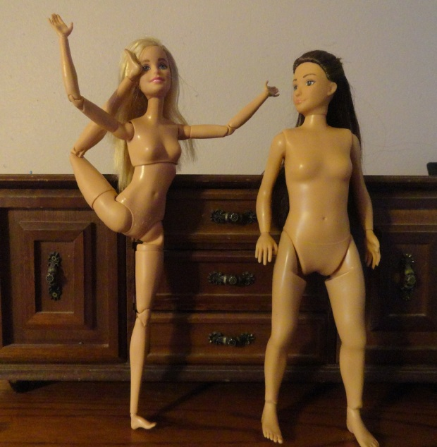Meg wonders whether Barbie's leg might snap off - they are rather close to twigs in comparison.