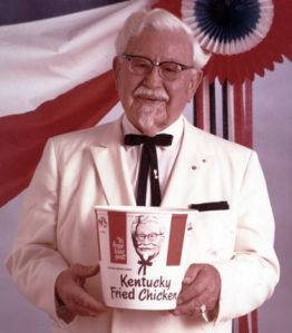 Colonel Sanders promises a chicken in every bucket.