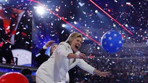Even Hillary lost her composure when balloons fell at the DNC convention! Pretty!